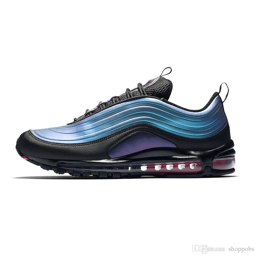 Compre Nike Air Max 97 Laser Fuchsia UNDEFEATED Triple Blanco Hombres Zapatos Corrientes Persa Violeta Negro Plata Bullet Bright Citron Hombres