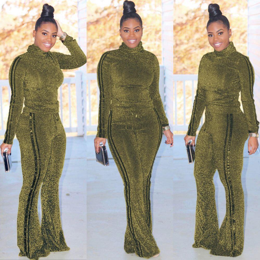 Glitter goldene Silk beiläufige 2 Stück Anzug Turtleneck volle Hülsen Slim Fit oben und seitlich Gestreifte Flare Pant Herbst
