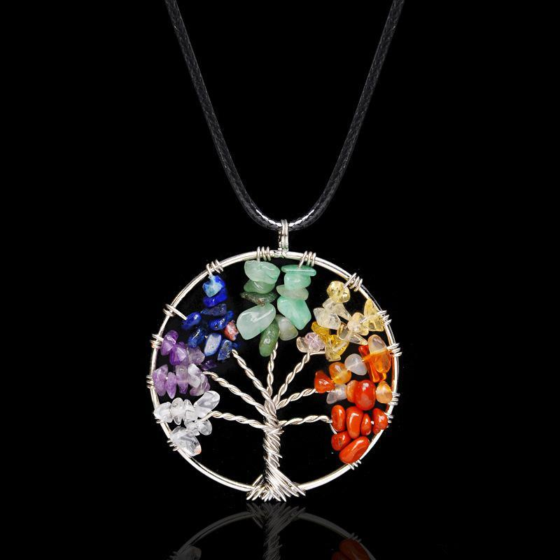 KOL Multicolor Chakra Natural Stone Tree of Life Pendant Necklaces Women Heart Necklace Fashion jewelry Christmas Gifts K2354