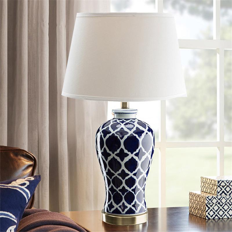 2019 Simple American Retro Ceramic Table Lamp Blue Living Room Full Of  Copper Rural Creative Study Decorative Bedroom Bedside Lamp From Zhao3yue,  ...