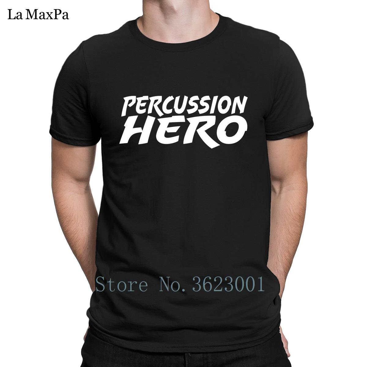 Funny Letters T Shirt Homme Percussion Hero T-Shirt For Men Building Trendy Men Tshirt Plus Size Tee Shirt Fitness