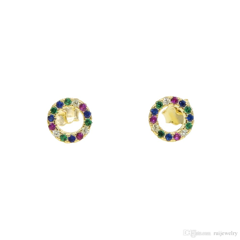 Clássico 100% 925 sterling silver mini simples círculo brincos para meninas mulheres com arco íris cz bonito chique jóias desgaste diário