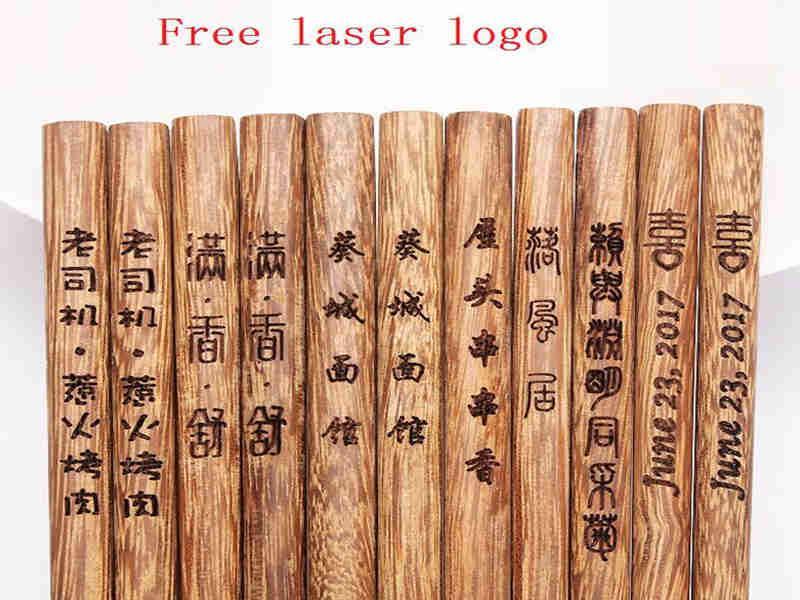 Nouvelle arrivée personnalisée Creative faveurs de mariage et cadeaux, gravure sur bois sur mesure Wengé Chopsticks sans logo personnalisé LX0804 Compar
