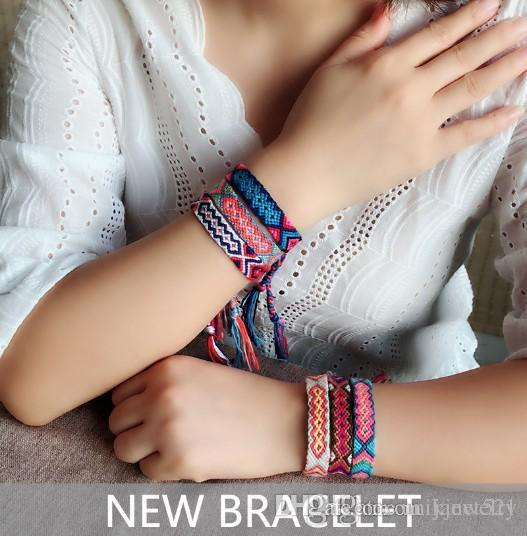 Bracelets Nepal Woven Friendship Linen Cotton Bracelets Colorful DIY Braided Thread Bracelets for Wrist Ankle Hair Ponytail Bracelet