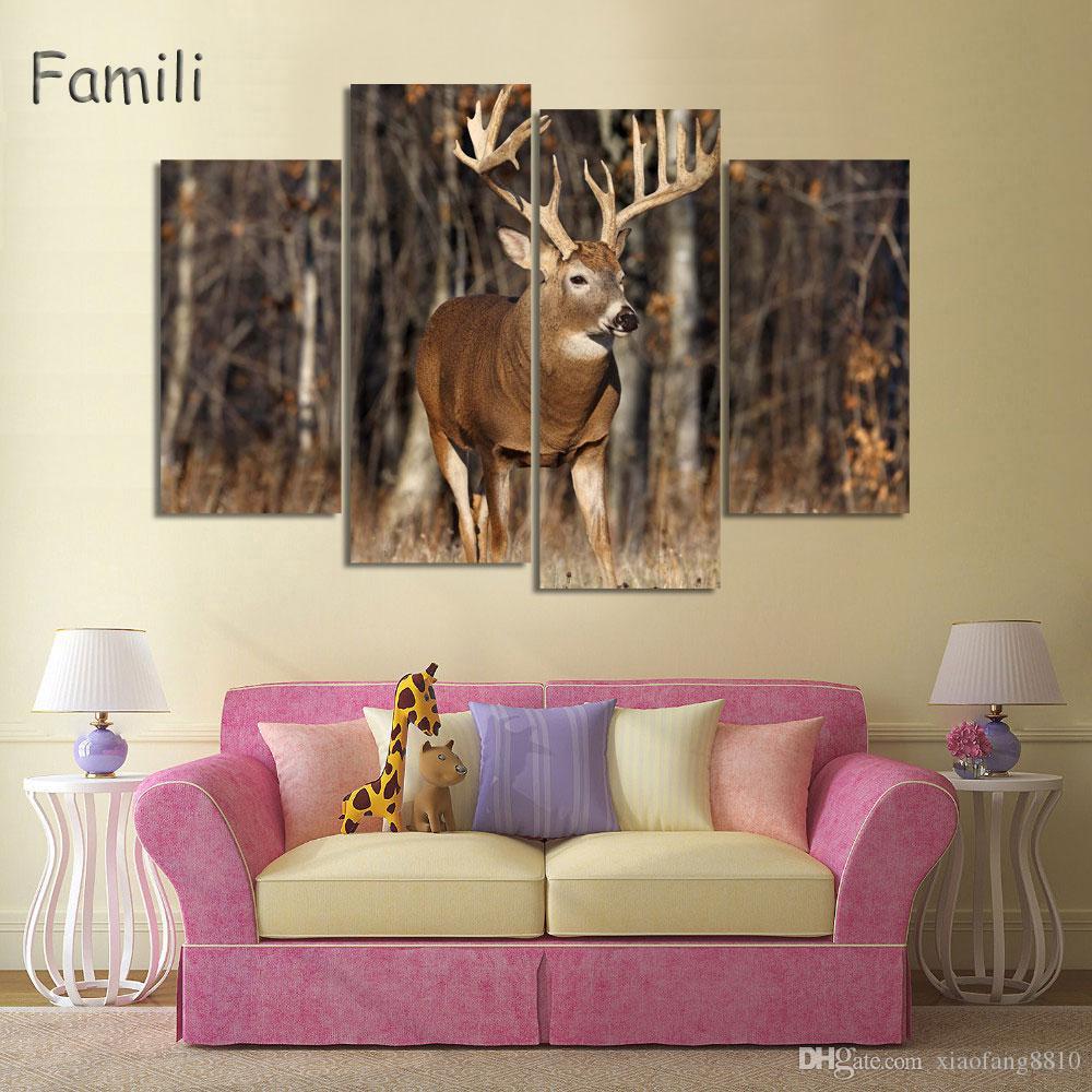 4 pcs Animaux Deers Impressions Sur Toile Peinture Moderne Automne Arbres D'or Wall Art Décoration Photo Pour Chirtmas