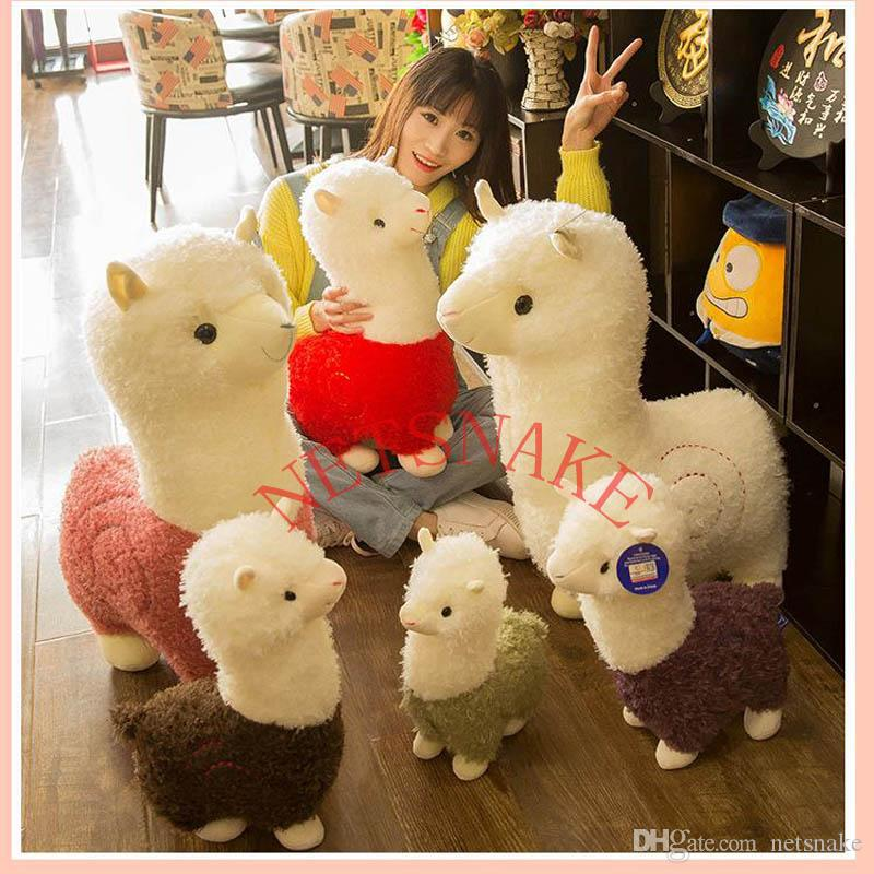 잔디 진흙 말 인형 알파카 봉제 장난감 긴 머리를 베개 만화 귀여운 양 짧은 플러시 장난감 귀여운 미니는 아이들에게 알파카 봉제 인형을 가득