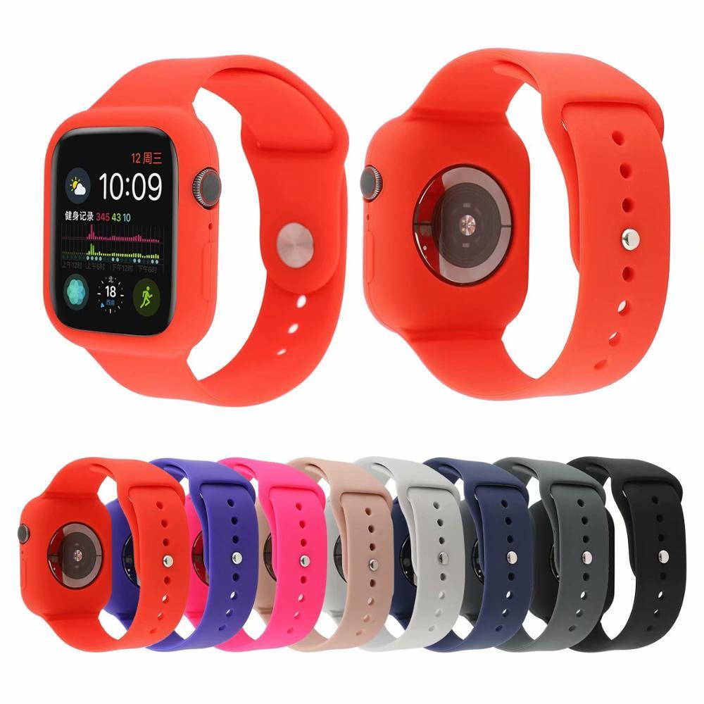 Silicone Strap Case for Apple Watch Band 5 4 44/40mm Sports Band Protective iWatch Series 3 2 1 42/38mm Rubber Bands