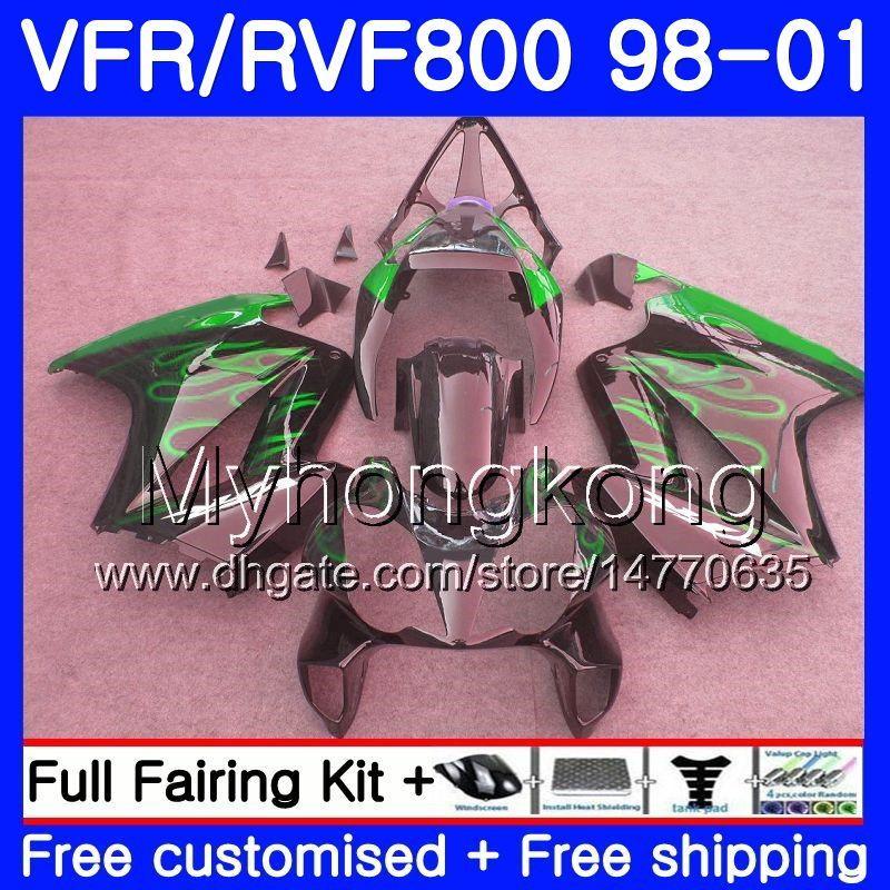 Cuerpo del interceptor HONDA VFR800R VFR800 1998 1999 2000 2001 Llamas verdes 259HM.34 VFR 800RR VFR 800 RR VFR800RR 98 99 00 01 Kit de carenado