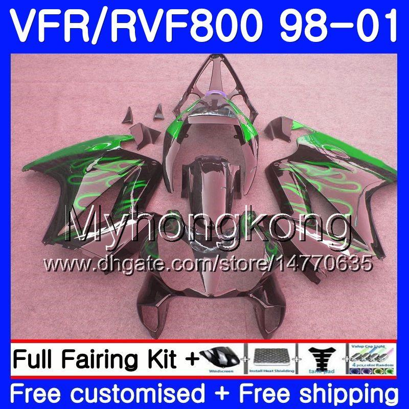 HONDA Interceptor VFR800R VFR800 için gövde 1998 1999 2000 2001 Yeşil alevler 259HM.34 VFR 800RR VFR 800 RR VFR800RR 98 99 00 01 Serme kiti