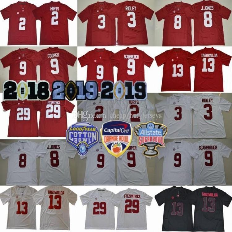 2019 Finales de Alabama Crimson Tide 8 Jones Jersey 2 Jalen Hurts 3 Ridley 29 Minkah Fitzpatrick 9 Bo Scarbrough de Orange Bowl, campeones de la NCAA