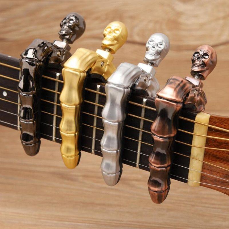 Skull Fingers Cool Design Ukulele Chitarra elettrica acustica Capo Argento Bronzo Oro nero Capo Accessori per chitarra Parti