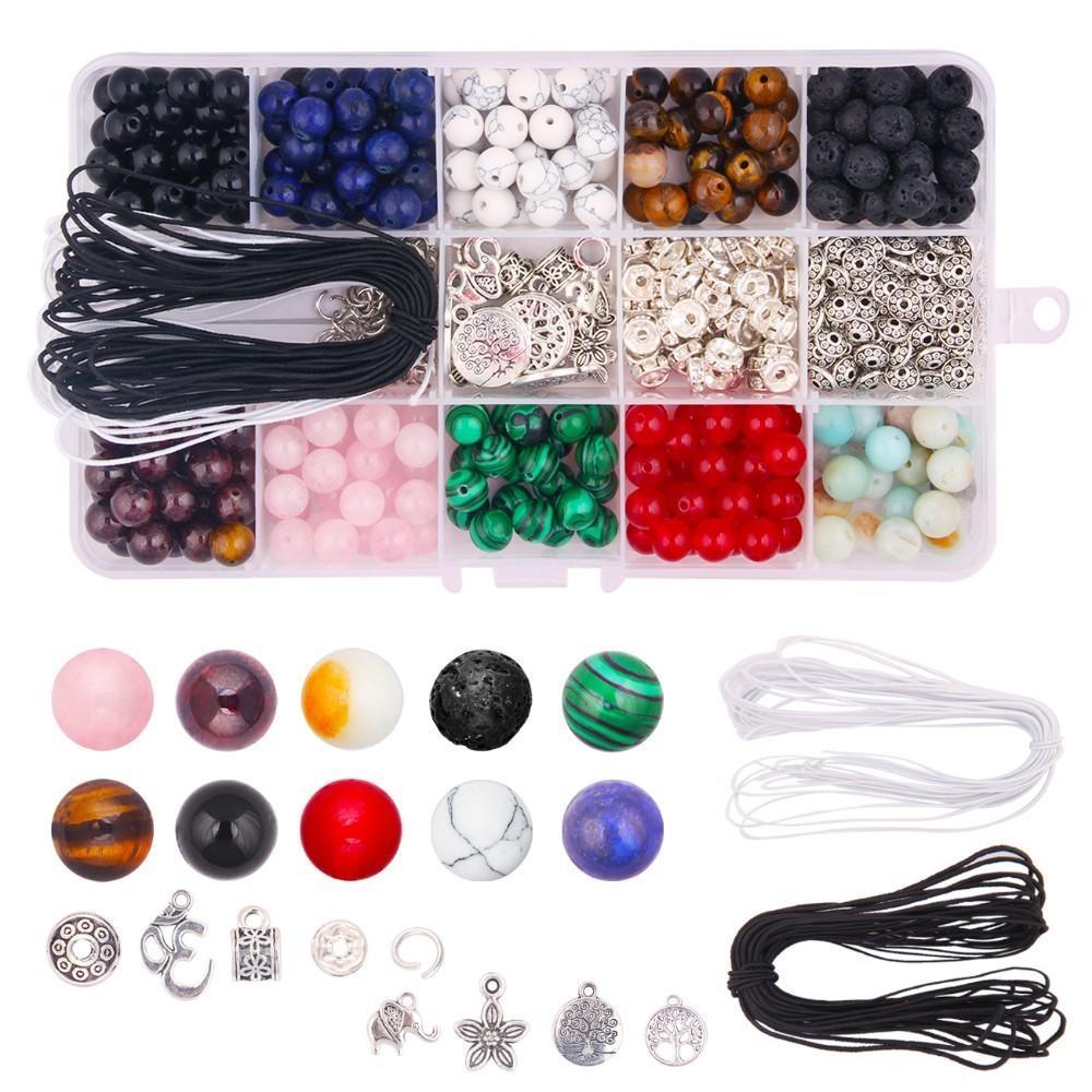 418pcs perline di pietra Kit 8mm sciolto perline pietra preziosa naturale pietra lavica con accessori componenti dei monili fai da te componenti Making