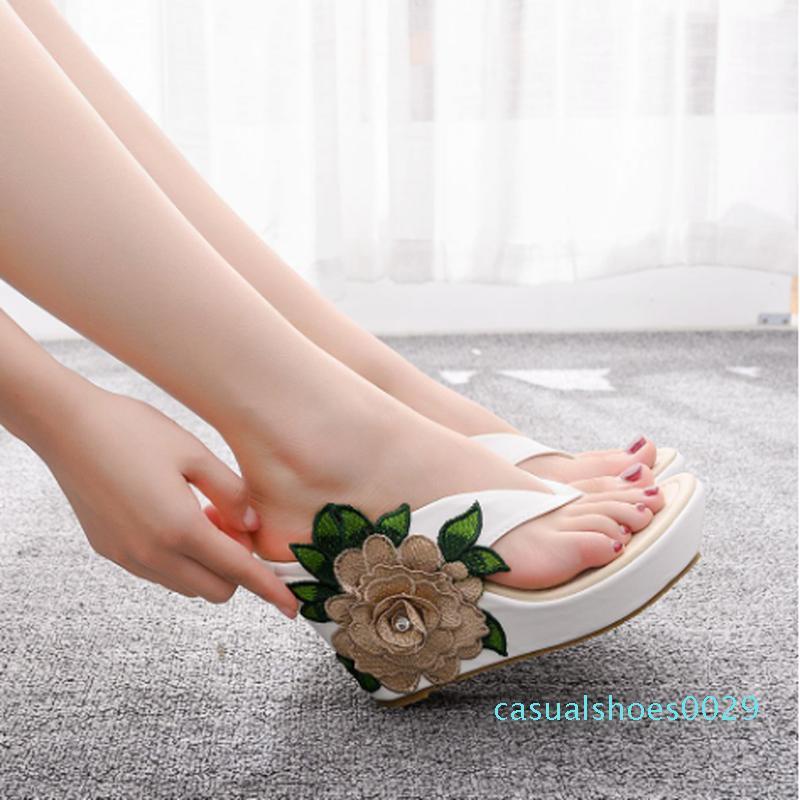 Modische Frauen Flip-Flops bequemen große Keilabsatz Sandalen Damenmode Sandalen hohe Absatz der Frauen Keilabsatz 9cm c29