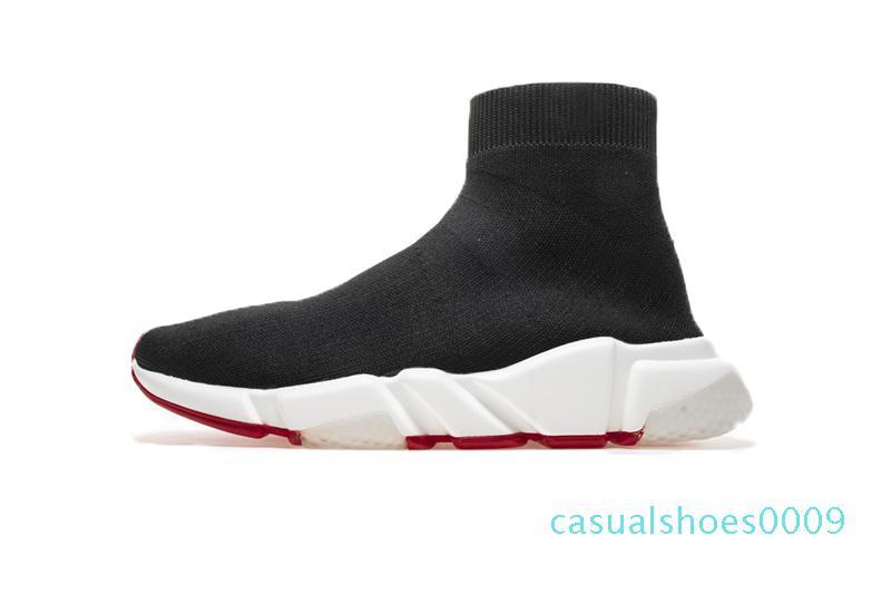 2019 Tasarımcı Ayakkabı Hız Eğitmen Siyah Kırmızı Gypsophila Üçlü Siyah Moda Düz Çorap Bay Bayan Günlük Ayakkabılar Runner ile Toz Torbası 09c