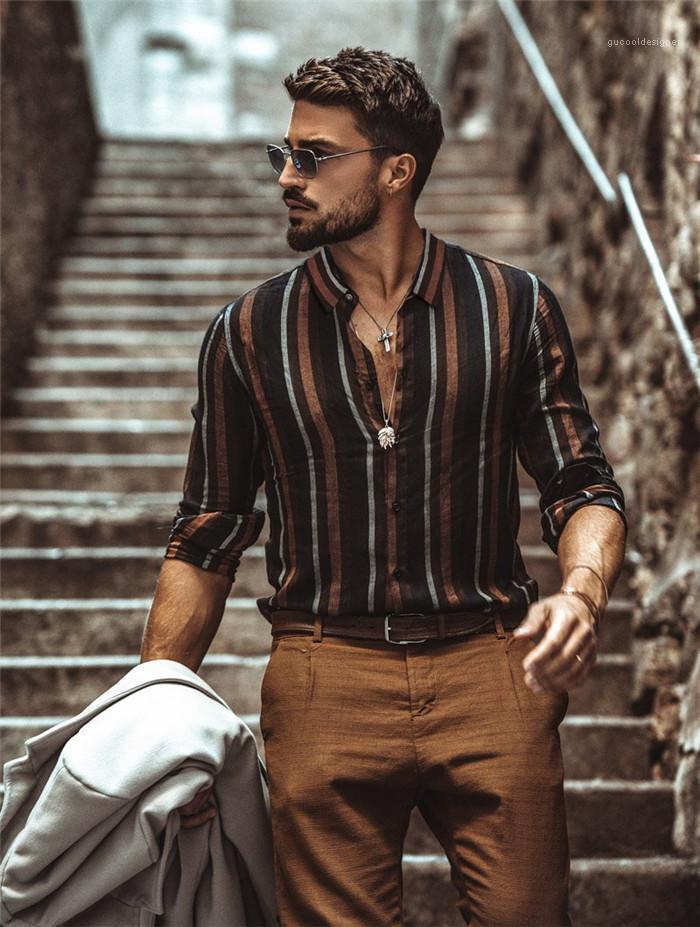 عارضة قمصان التلبيب الرقبة كم طويل لربيع وصيف مصمم قميص الذكور عارضة الازياء ملابس الرجال مخطط طباعة