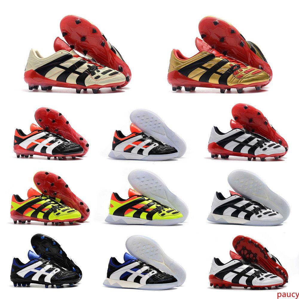 2019 originale de haute qualité Chaussures de football rêve Retour Predator Accelerator Champagne FG / IC Chaussures de soccer Crampons Chaussures de sport