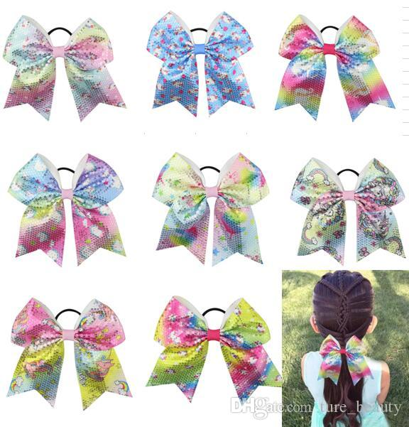 7/'/' Cute Unicorn Printed Cheer Bows With Elastic Band Hair Tie For Girls Kids