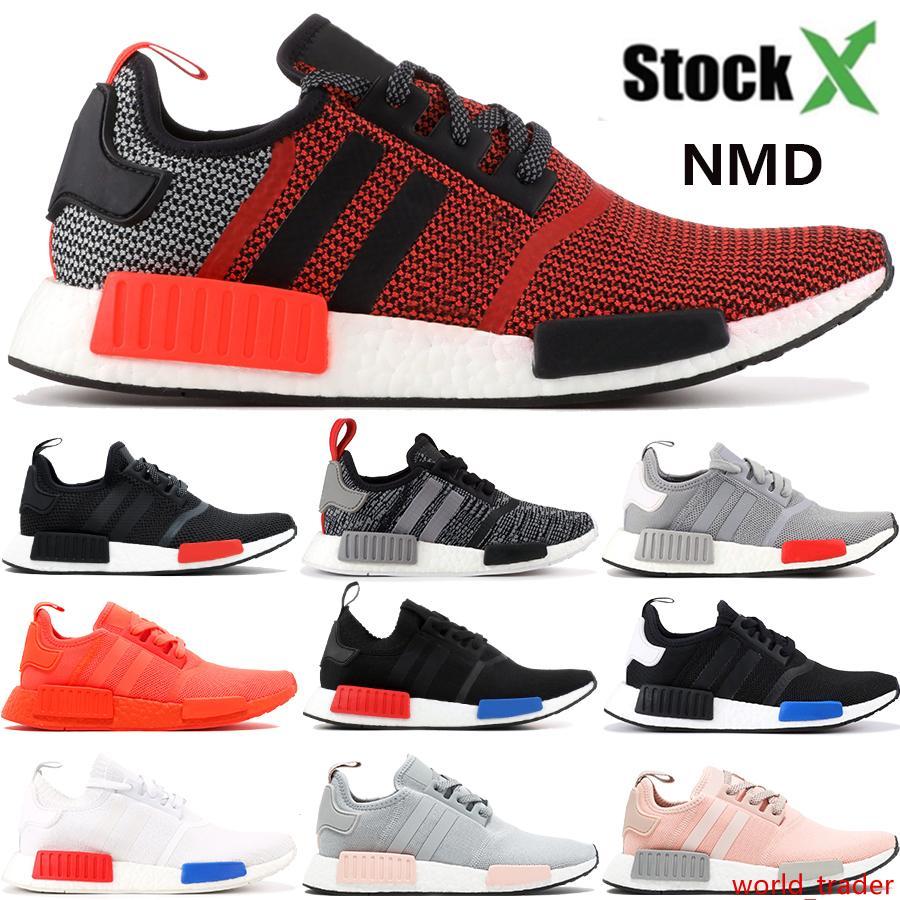 New NMD R1 mens sapatos de grife exuberante luz vermelha Onix Europa exclusivo Tactile Verde Black White Men triplos mulheres ao ar livre tênis em execução