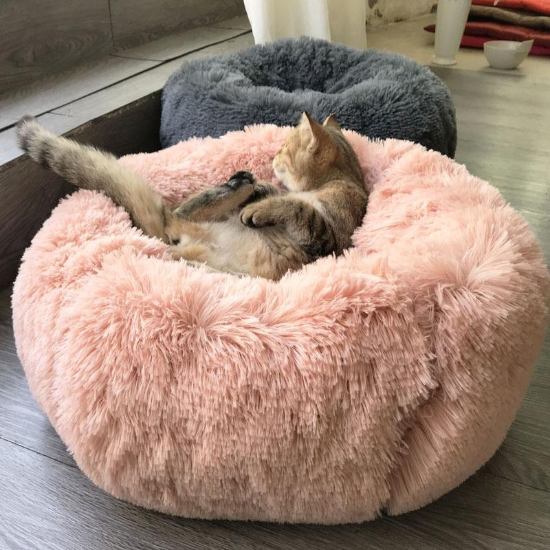 Long Plush Super Soft Pet Bed Kennel Dog Round Cat Winter Warm Sleeping Bag Puppy Cushion Portable Mat Cat Supplies 50 / 60cm