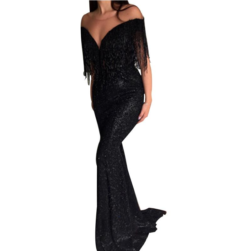 Women Deep V-neck Off Shoulder Long Dress Sexy Slim Sequin Fringe Tassels Evening Bride Gowns Harajuku Black Party Dress