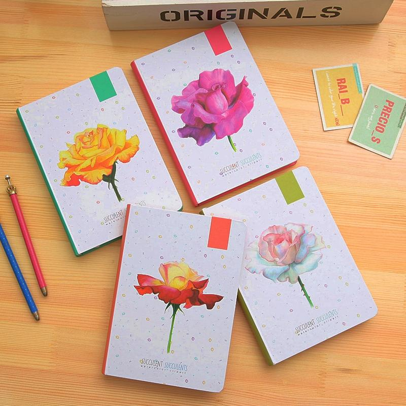 Fromthenon Korean Cute Flower Hardcover Notebook Journal Color Illustration Diary Planner Office And School Supplies Stationery