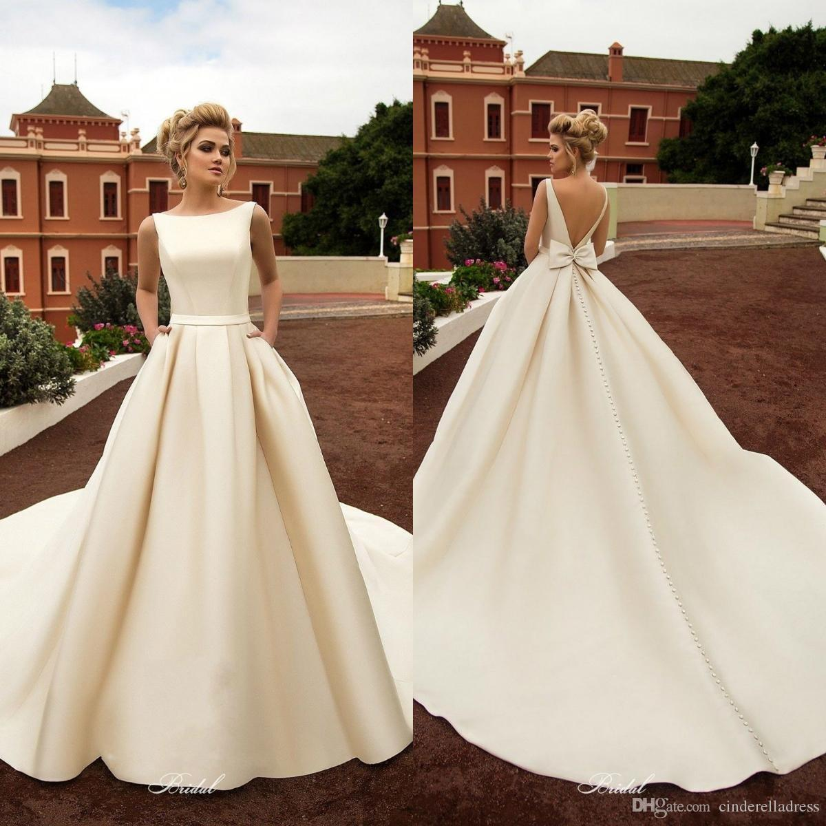 2020 New Elegant Satin Beach Wedding Dresses With Pockets Backless Bow Boho Beach A Line Backless Wedding Dress Bridal Gowns