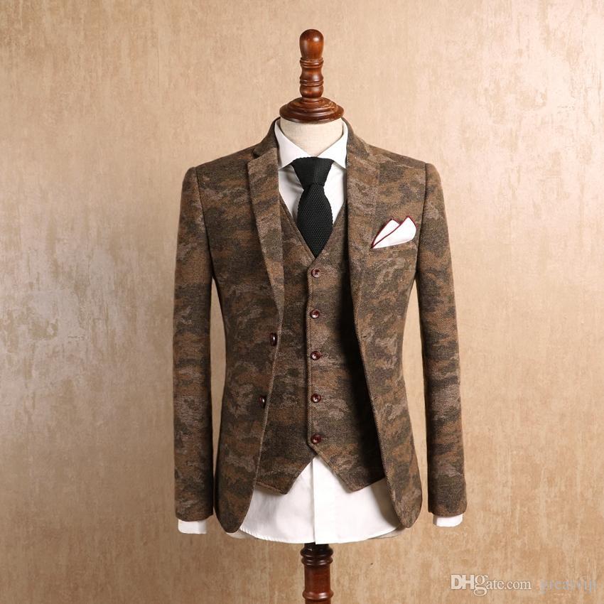 2019 Fashion Wool Meisai Men Formal Suits Camouflage Wedding Tuxedos Business Bridal Groomsman Western Style Blazers Bridegroom Jackets