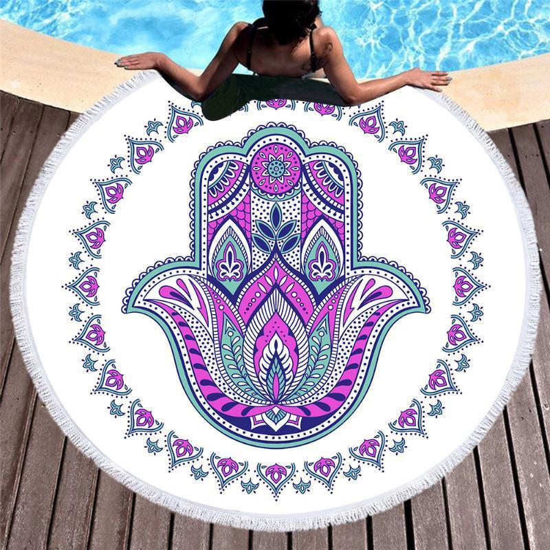 비치 두꺼운 라운드 여성들 대형 목욕 수건 술 인쇄 비치 타월 패브릭 빠른 압축 태피스트리 요가 카펫을 3D