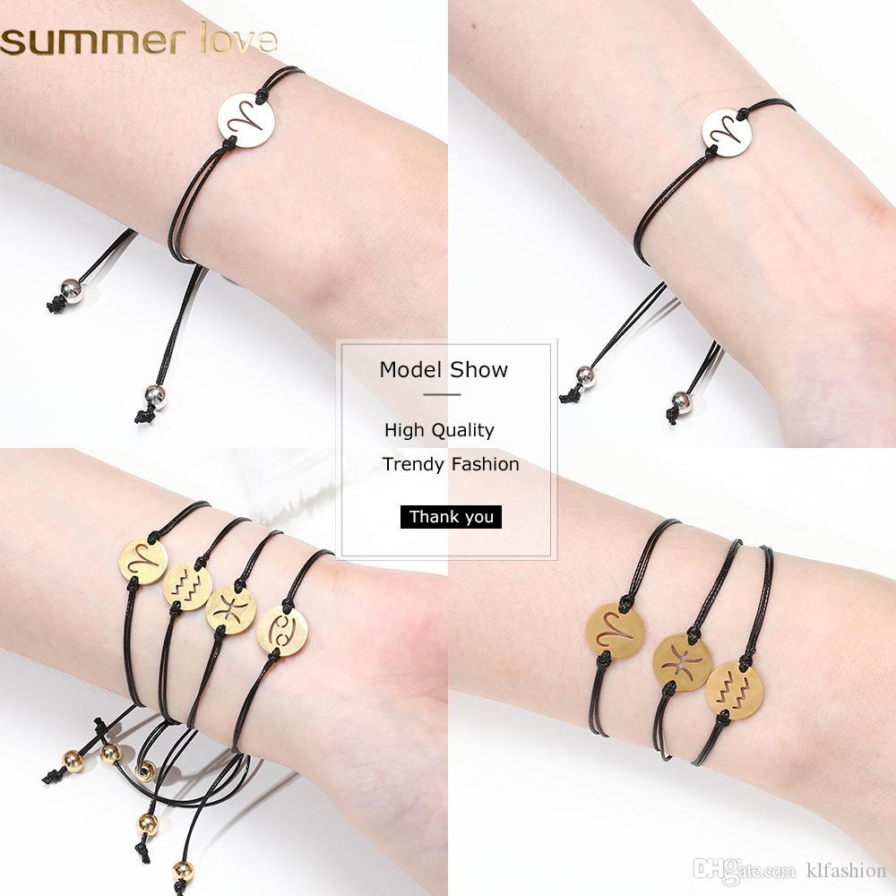 Pulseras de cuerda de cera negra trenzada hecha a mano de acero inoxidable ajustable 12 constelaciones del encanto pulseras de cadena para hombres mujeres unisex