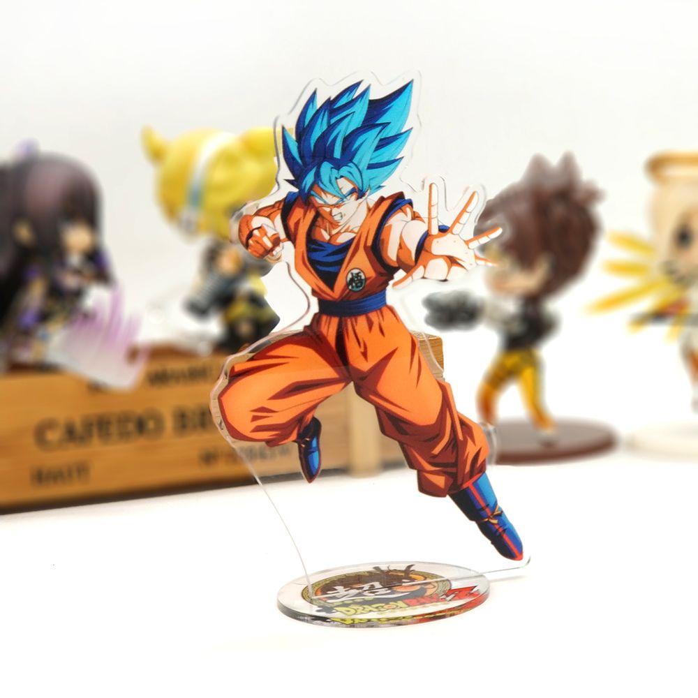 BUY 4 FREE 1 DragonBall Super Goku God Super Saiyan blue acrylic stand figure model double-side holder cake topper anime toy table display