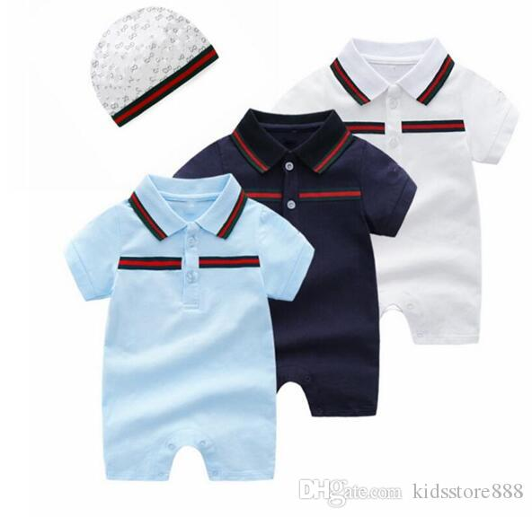 Baby Boy Rompers 의상 디자이너 레이블 Newborn Jumpsuits Baby Girls Romper Hat 0-12 개월 유아 의류 2pcs / 세트