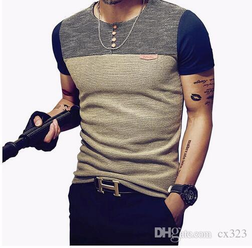2019 Yaz Moda erkek T Gömlek Gündelik Patchwork Kısa Kollu Erkek T-Shirt Erkek Giyim Casual Slim Fit Hip-Hop En Tees 5XL