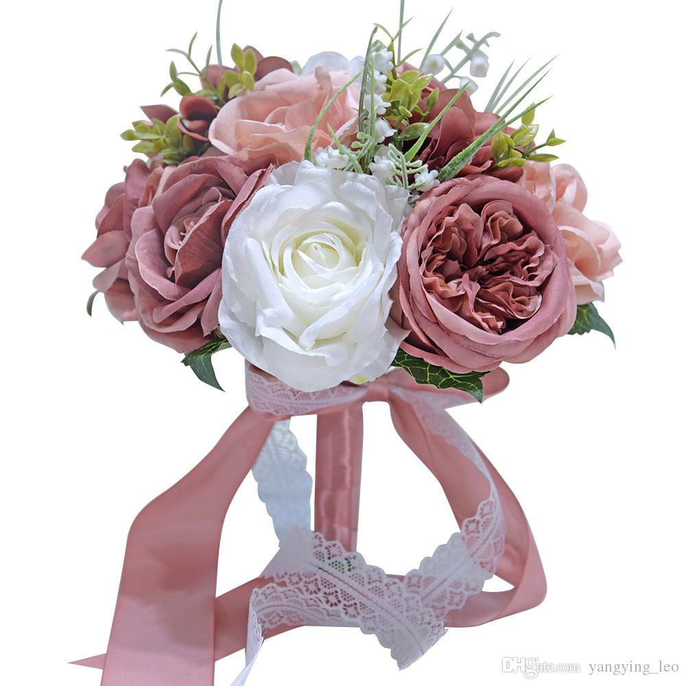 YFMY Highquality 어두운 핑크 패브릭 실크 스타일 리본 foreast 꽃을 들고 동백 하이브리드 백합 결혼식 꽃다발 수국 신부 장미