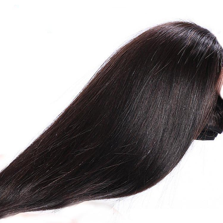 3 fasci di naturale capelli brasiliani di 100% umana serica grado 8A vergine diritta con chiusura a laccio non trasformati 4X4
