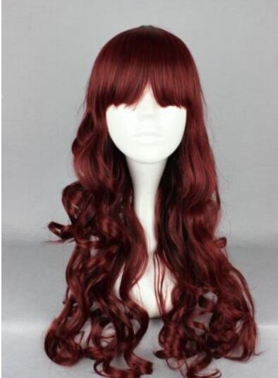 무료 배송 + ++ 섹시한 여자 레이디의 긴 곱슬 머리 가발 코스프레 패션 Wavy Party Wig Synthetic