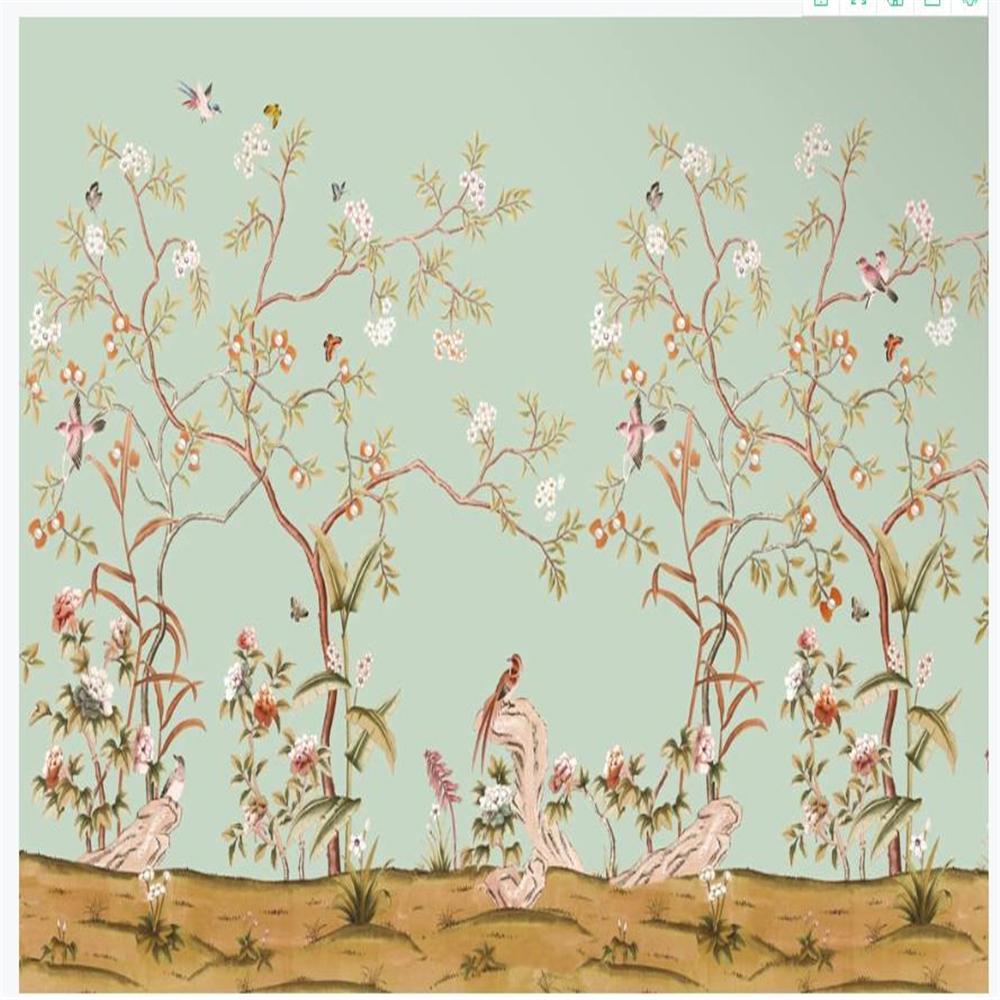 3d 배경 화면 중국어 스타일 배경 벽 손으로 그린 꽃과 새 배경 화면 복고풍 배경 벽