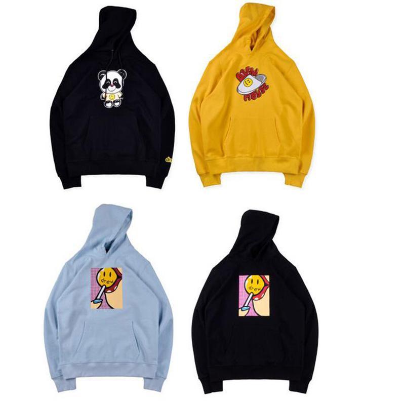 Justin Bieber Drew House Cartoon Teddy Panda Balloon Slipper Smile Skateboard Hoodie Hoody Men Women Autumn Winter Hooded Sweatshirt Coat