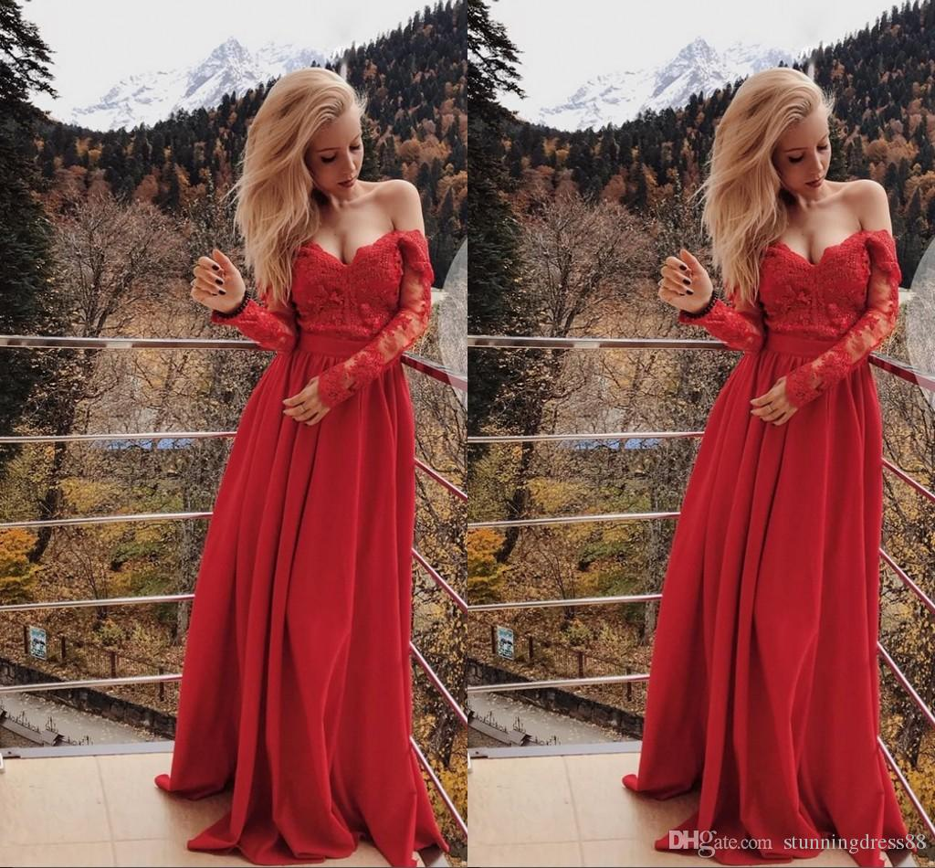 2020 Red Long Sleeves Lace Prom Homecoming Dresses Off the shoulder Chiffon Empire Waist Applique Beaded Long Cheap Graduation Party Dress