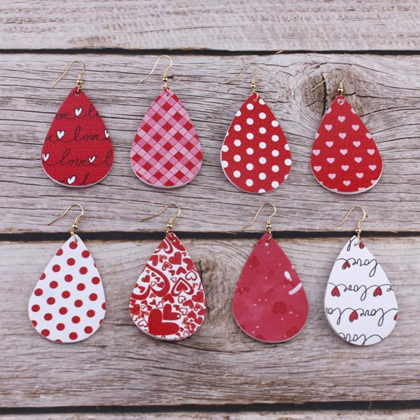 Valentine's Day Holiday Love Heart Print pu Leather Earrings for Women Costum Teardrop Leather Dangle Earrings Jewelry Gifts