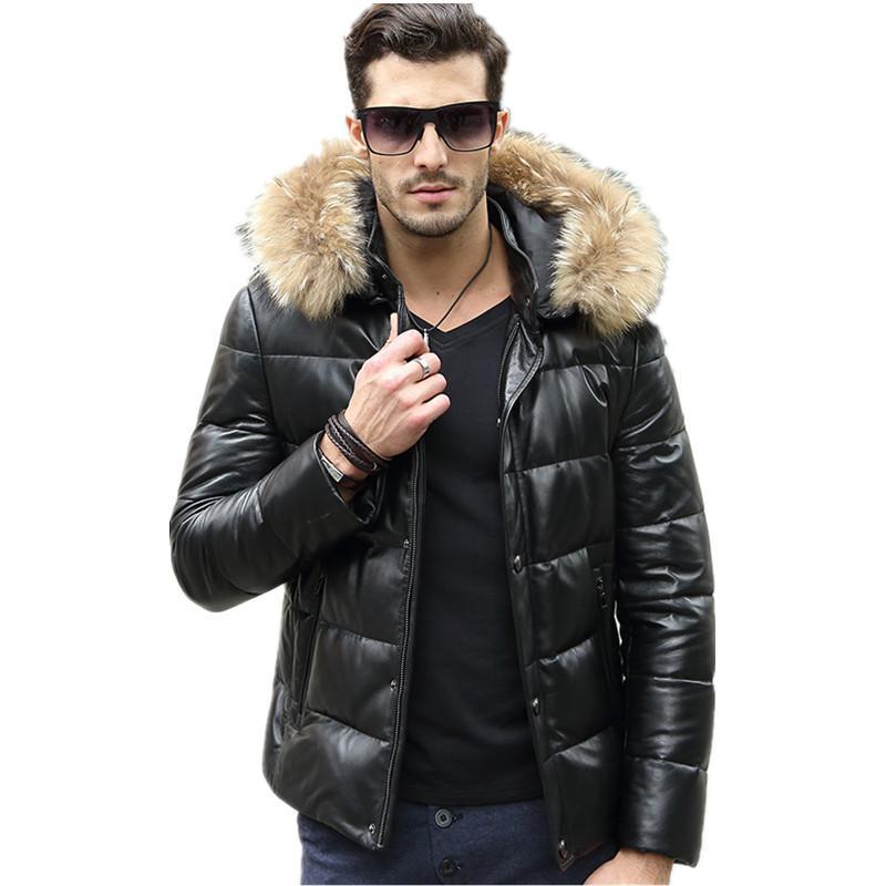 Genuine Leather Jacket Men Real Raccoon Fur Collar Sheepskin Coat Winter Jacket Men Warm Duck Down Jackets Veste Homme MY1593
