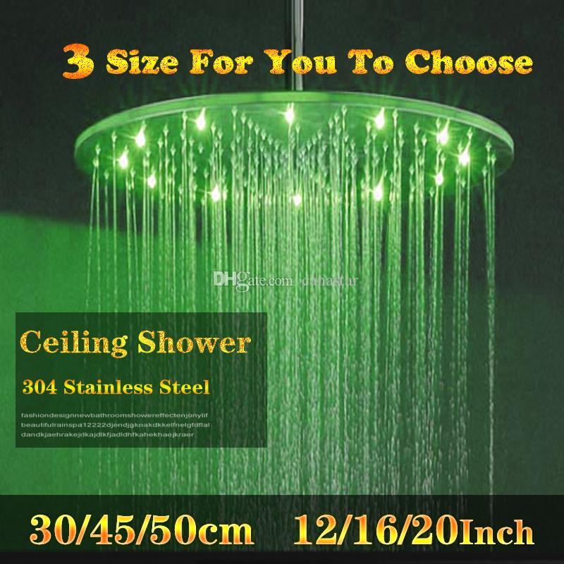 5 성급 호텔 사용 라운드 모양 천장 마운트 강우량 샤워 헤드 12/16/20 인치 RGB 색상 변경 하이드로 전원 led가 샤워 헤드