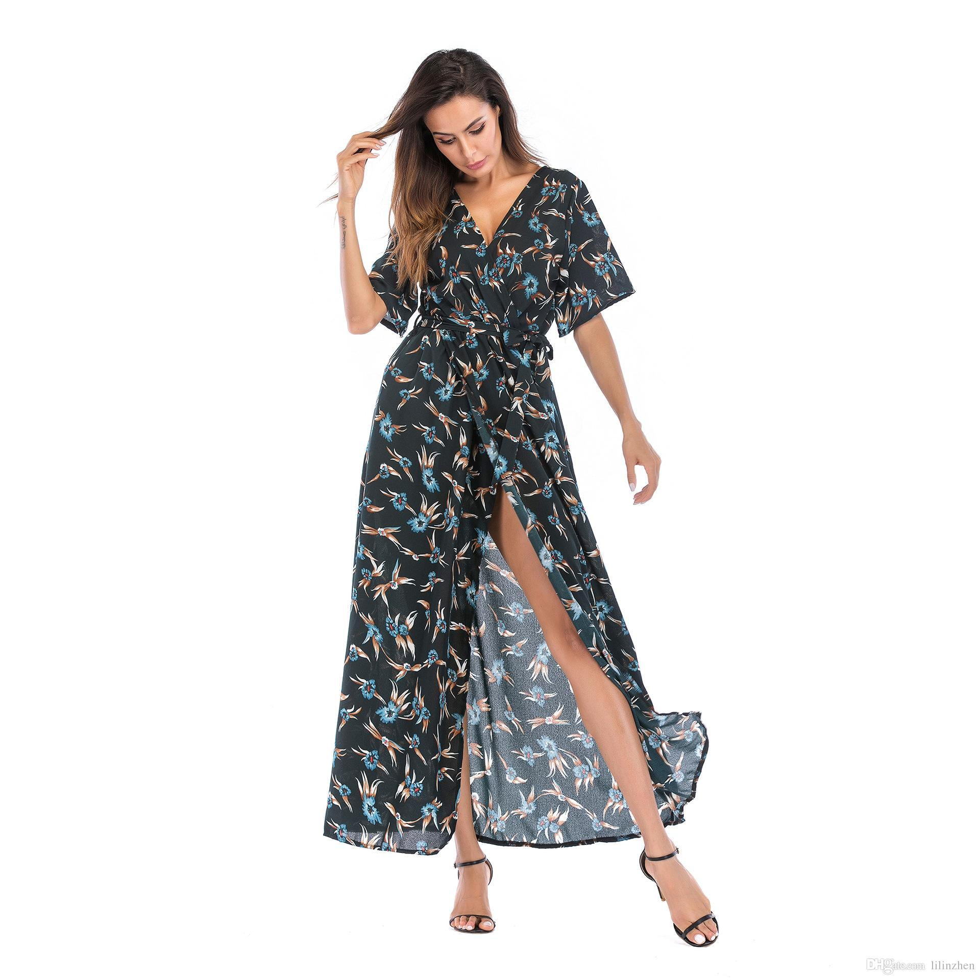 2019 Top Women's Dress Summer Holiday in Europe and America with Deep V-neck and Multi-color Short-sleeved Chiffon Beach Skirt