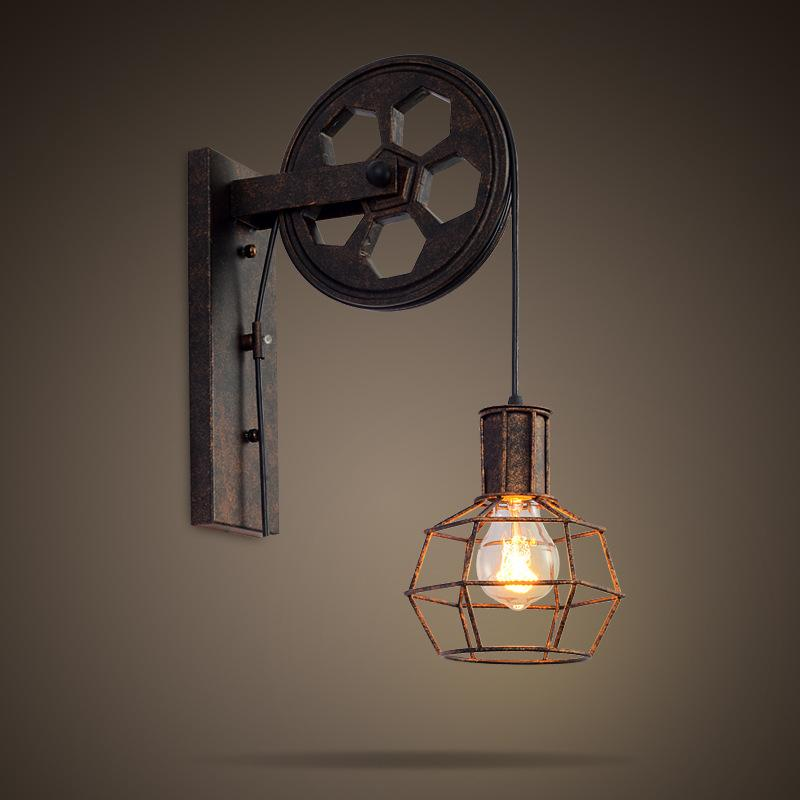 Vintage Industrial Style Wrought iron lamp Pulley iron rope wall lamp holder Antique Cage Retro Pendant,Single Head Lifting