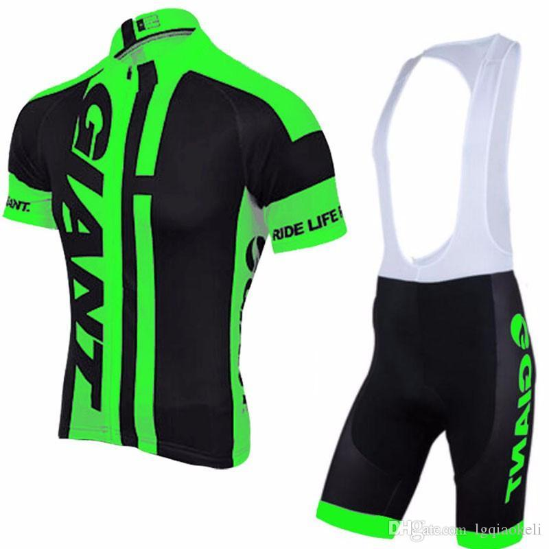 GIANT team Cycling Short Sleeves jersey bib shorts sets Summer comfortable men's wear-resistant sports mountain bike clothing suit S612