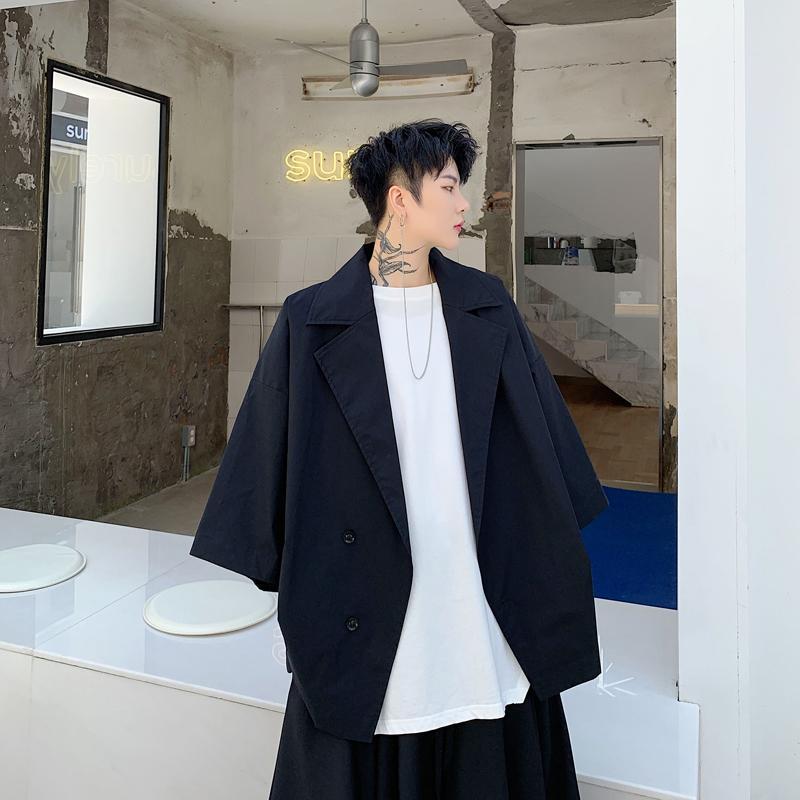 Мужчины Негабаритного Bat короткого рукав куртка Мужской Streetwear Hip Hop готического Сыпучего Повседневной рубашка Стиль пальто Япония Стиль Верхняя одежда