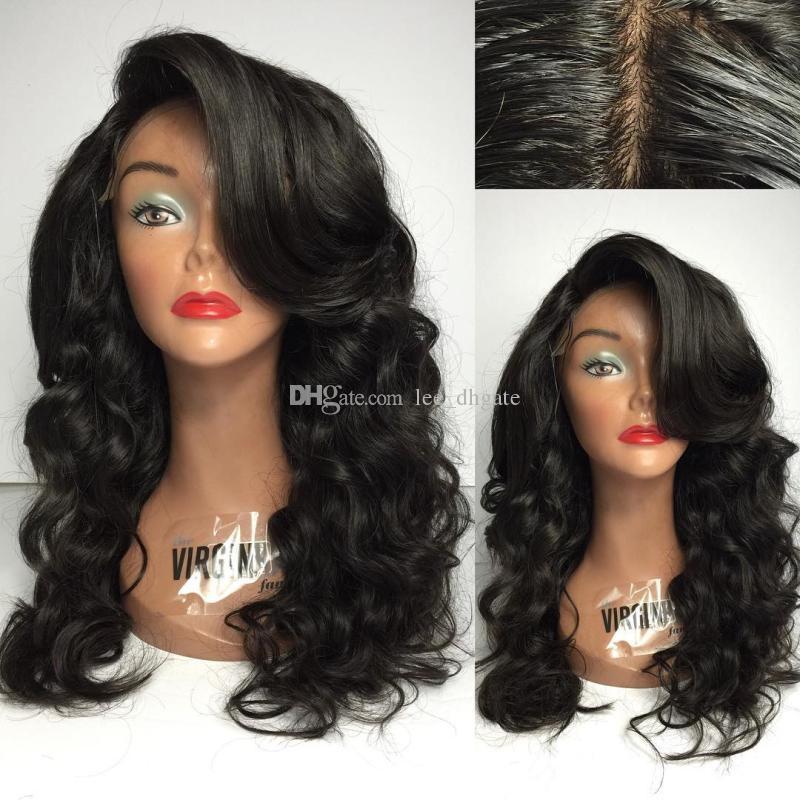 Top qualité brésilienne Virgin vrac pleine onde perruque de dentelle de couleur naturelle Glueless Lace Front perruques de cheveux humains avec bébé cheveux décolorés Nœuds