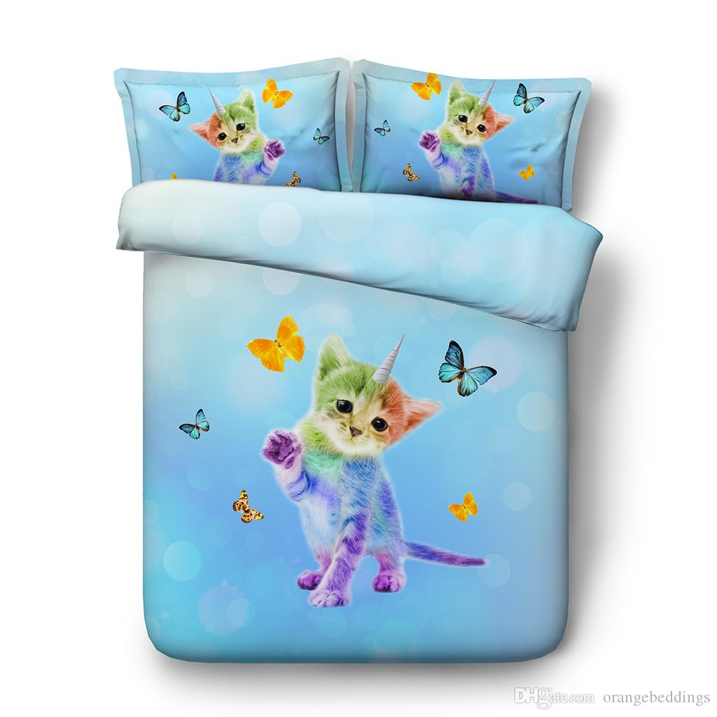 Unicorn Cat Duvet Cover Twin Girls Galaxy Bedding Queen Star Blue Bedspreads King Size Green Bedroom Decor 3 Piece Bedding Set