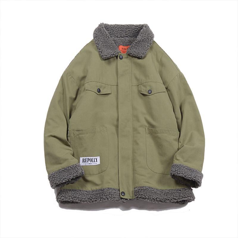 Winter Jacket Men 2,019 suporte Moda Collar Exército Masculino verde japonês Streetwear Windbreaker Chaqueta Hombre Jacket Men CC50JK