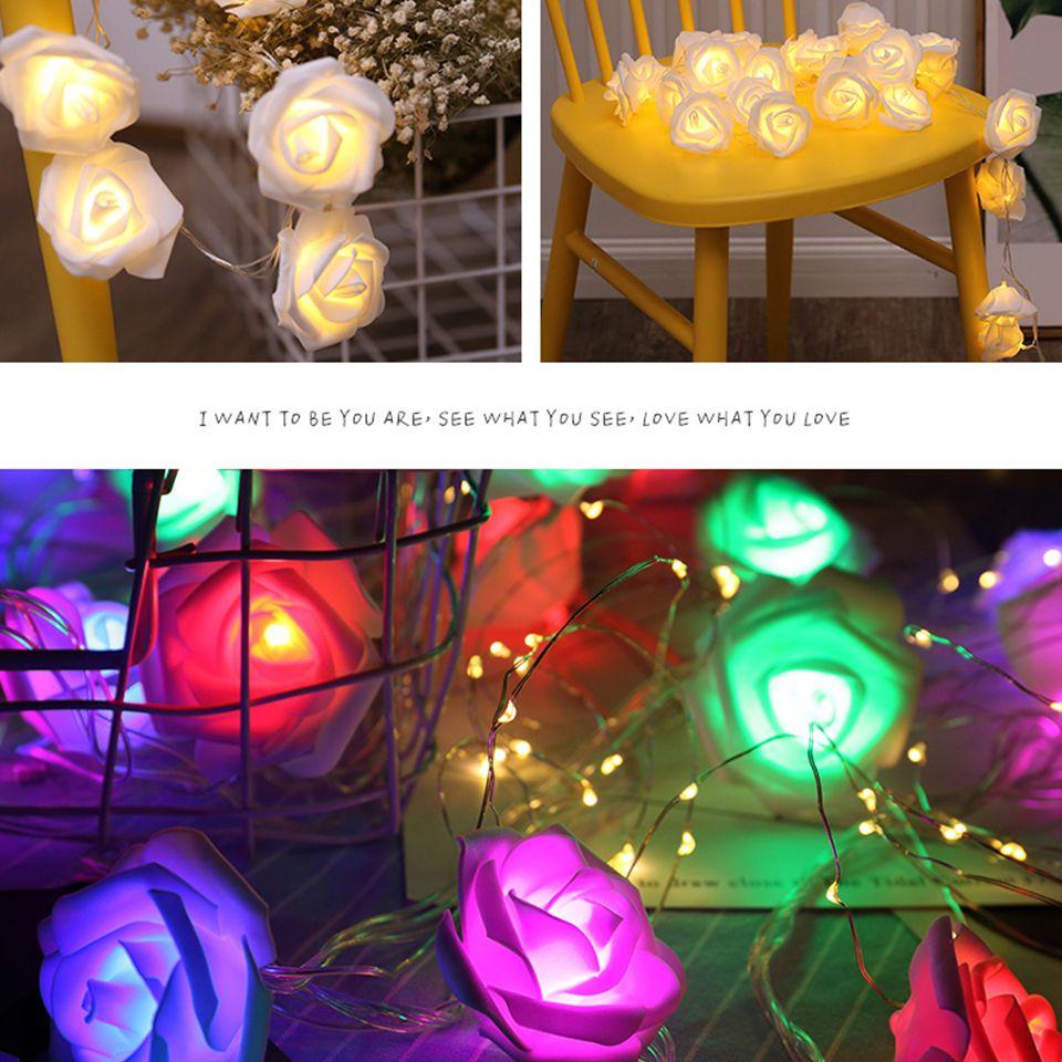 Fábrica 10 / 20LEDs pilhas Holiday Party Luz Fada LED Rose Flor corda das luzes de Natal de casamento Valentine decorativa Luz LED