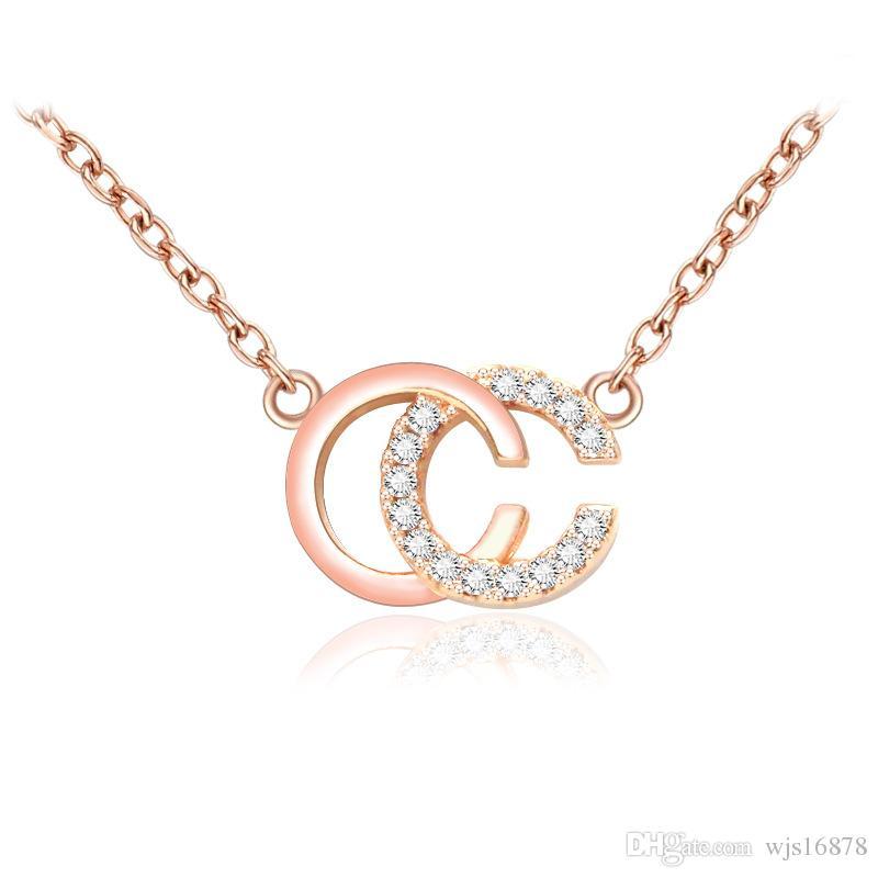 Großhandel 2019 Mode Marke Designer Doppel Buchstaben Halskette Goldton Halskette Für Frauen Männer Hochzeitsfest Schmuck Geschenk